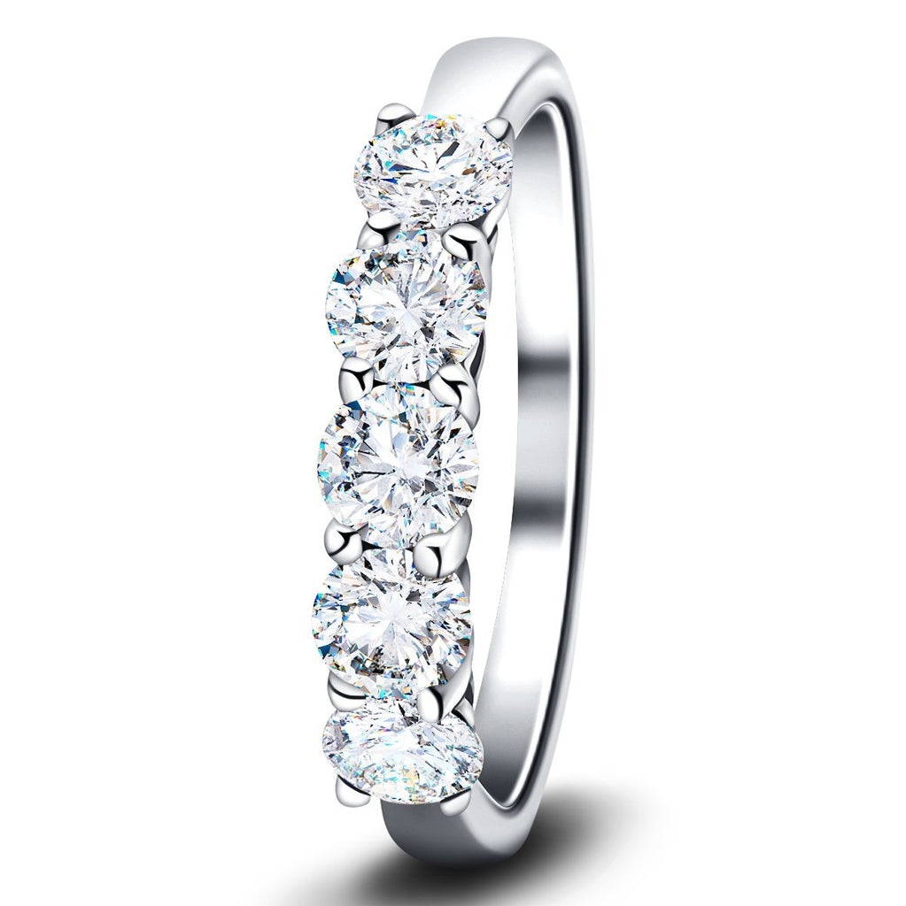 Classic Five Stone Ring with 1.00ct G/SI Quality 18k White Gold - All Diamond