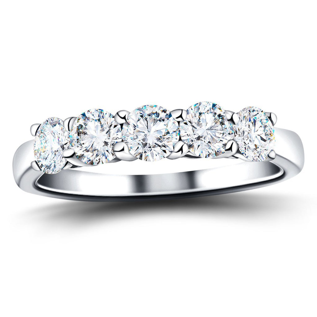 Classic Five Stone Ring with 1.50ct G/SI Quality 18k White Gold - All Diamond