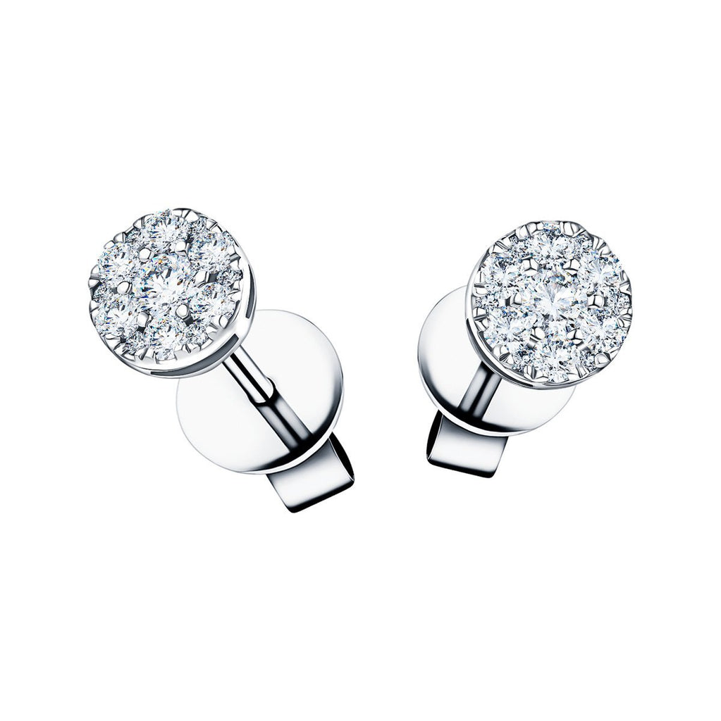 Cluster Diamond Earrings 0.35ct G/SI Quality in 18k White Gold - All Diamond