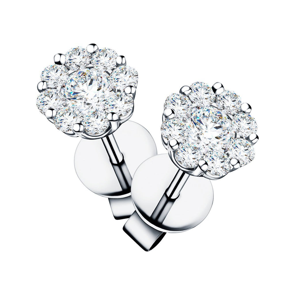 Cluster Earrings 1.00ct G/SI Quality Diamond in 18k White Gold - All Diamond