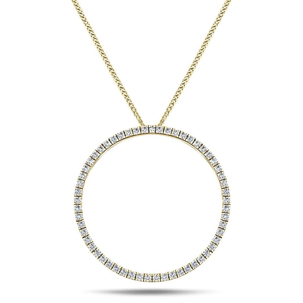 Diamond Circle Life Necklace 1.00ct G/SI Quality 18k Yellow Gold W33.0 - All Diamond