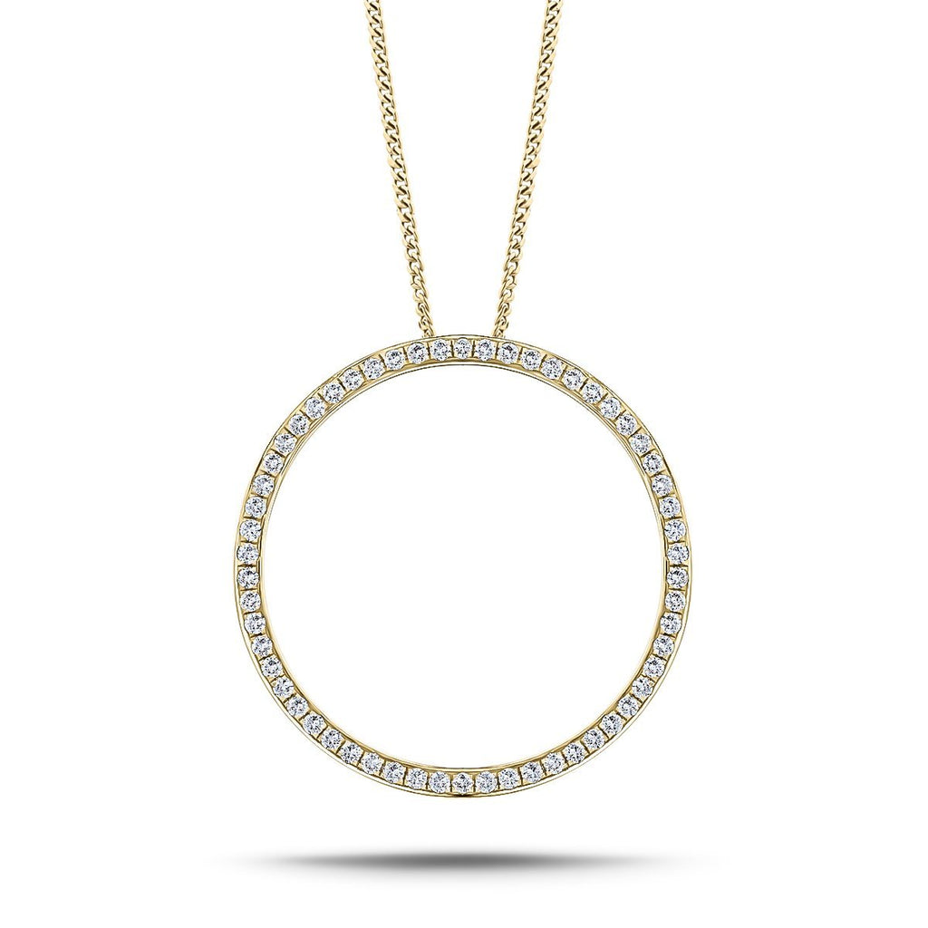 Diamond Circle of Life Necklace 0.70ct G/SI Quality in 18k Yellow Gold - All Diamond