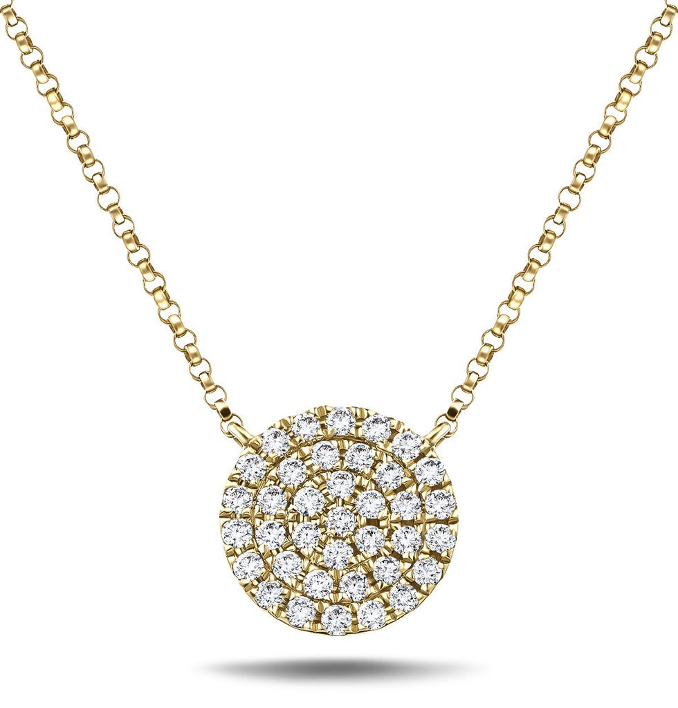 Diamond Cluster Circle Shape Necklace 0.40ct G/SI 18k Yellow Gold - All Diamond