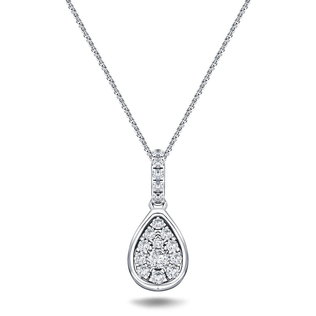 Diamond Cluster Pendant Necklace 0.20ct G/SI 18k White Gold 7.0mm - All Diamond