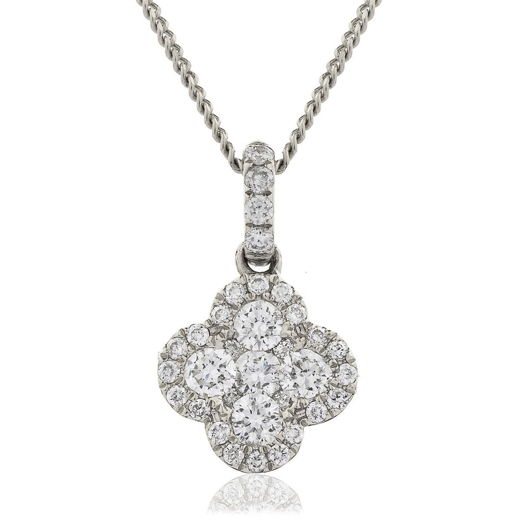 Diamond Cluster Pendant Necklace 0.30ct G/SI 18k White Gold 8.0x13.4 - All Diamond