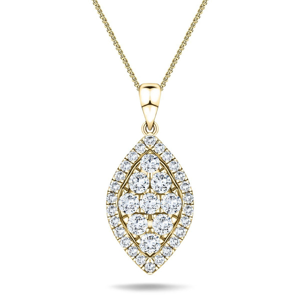 Diamond Cluster Pendant Necklace 0.60ct G/SI 18k Yellow Gold 9.1x21.5 - All Diamond