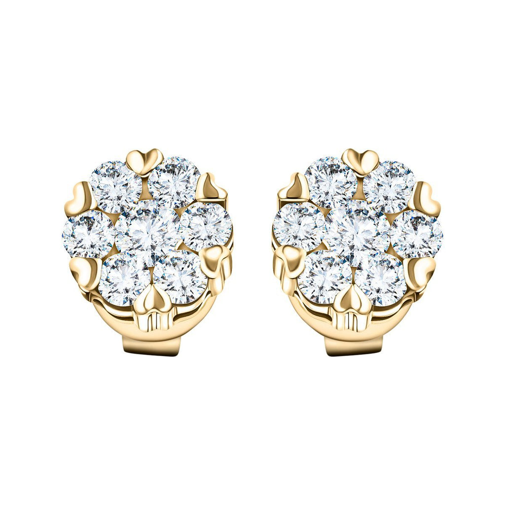 Diamond Cluster Stud Earrings 1.10ct G/SI Quality in 18k Yellow Gold - All Diamond