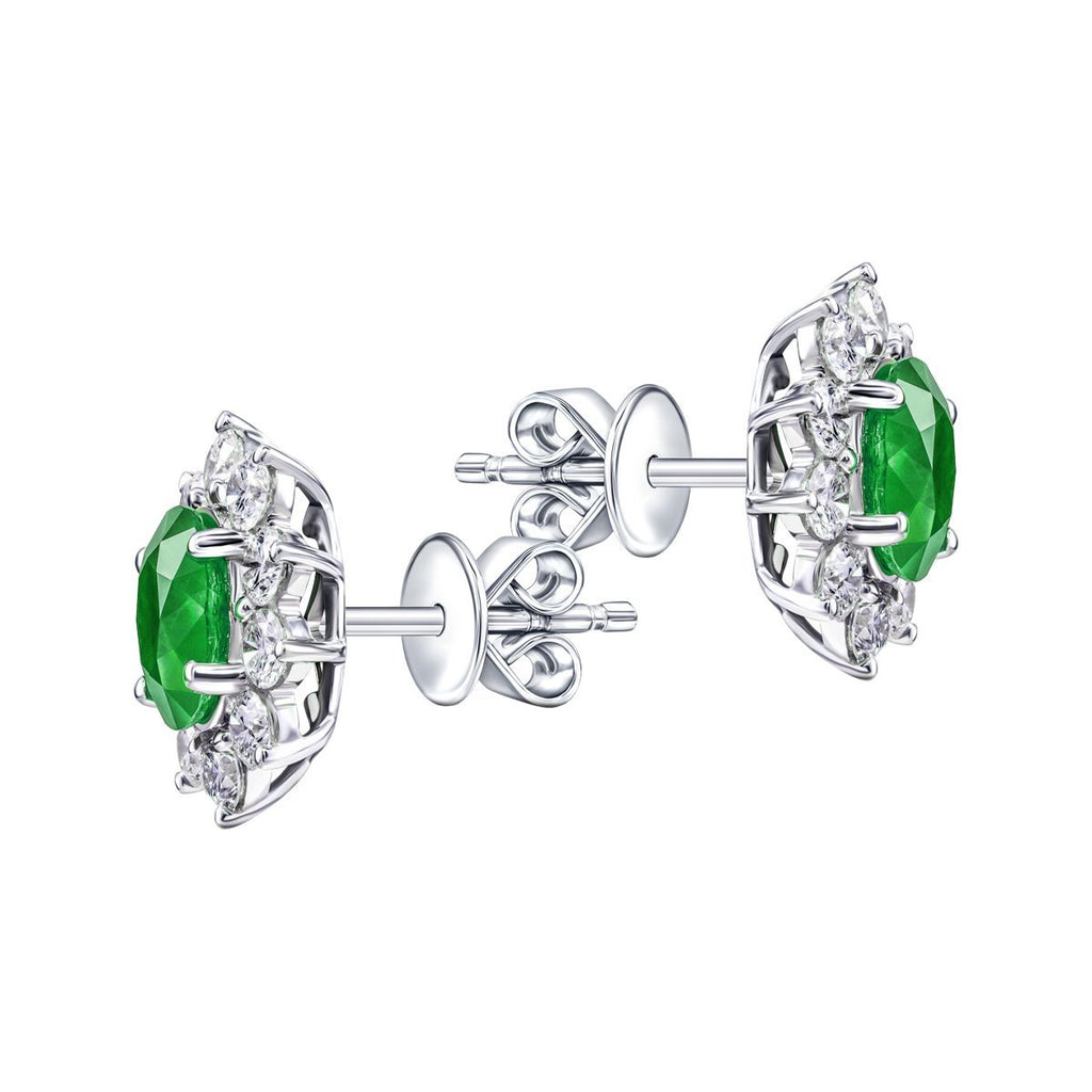 Diamond & Emerald Oval Cluster Earrings 2.80ct 18k White Gold - All Diamond