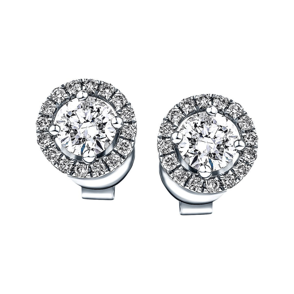 Diamond Halo Earrings 0.55ct G/SI Quality in 18k White Gold - All Diamond