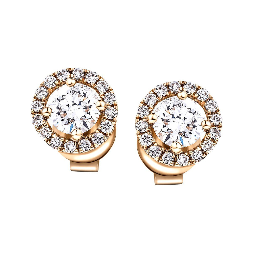 Diamond Halo Earrings 0.75ct G/SI Quality in 18k Rose Gold - All Diamond