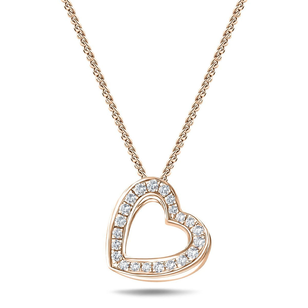 Diamond Heart Pendant Necklace 0.20ct G/SI 18k Rose Gold 12.0mm - All Diamond