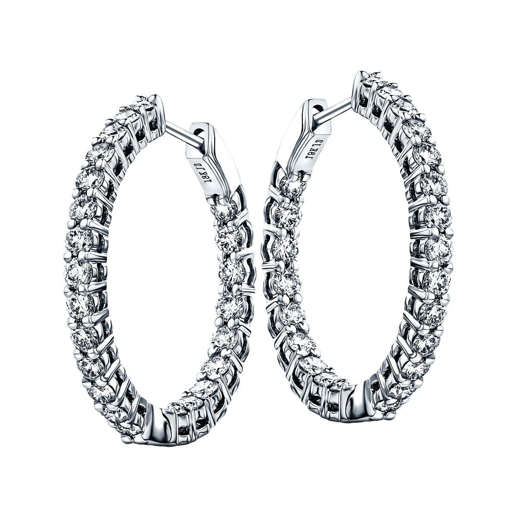 Diamond Hoop Earrings 1.00ct G/SI Quality Diamonds 18k White Gold - All Diamond