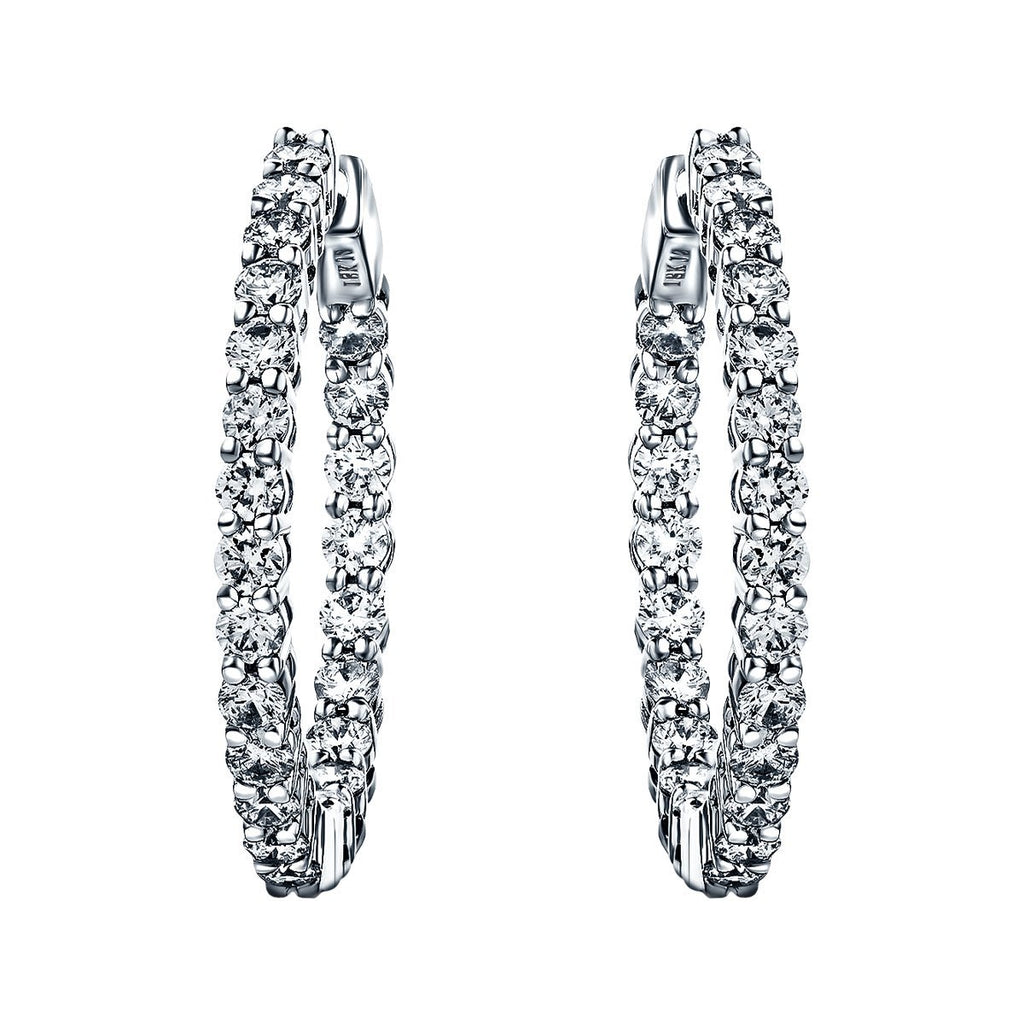 Diamond Hoop Earrings 1.50ct G/SI Quality Diamonds 18k White Gold - All Diamond