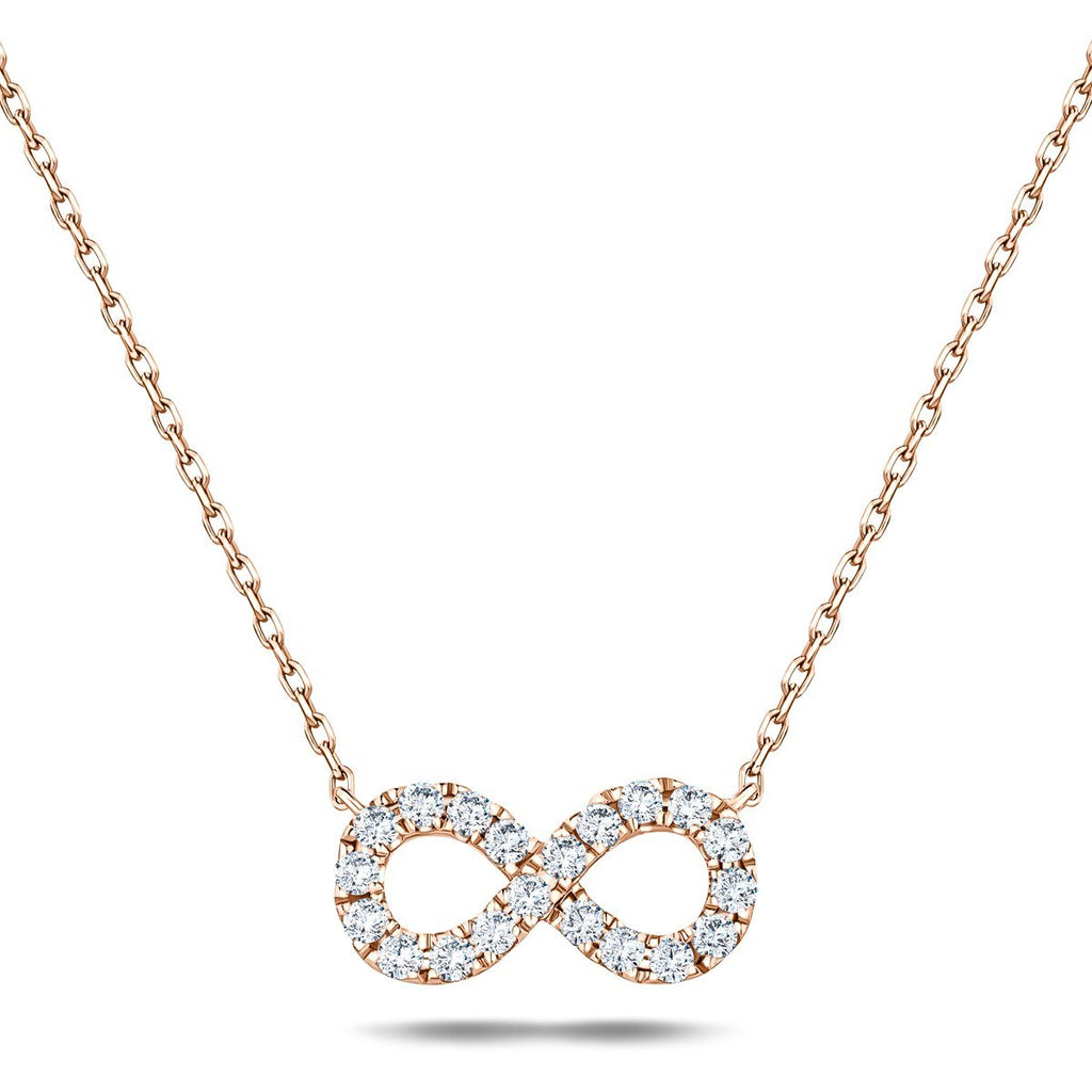 Diamond Infinity Necklace 0.50ct G/SI Quality in 18k Rose Gold - All Diamond
