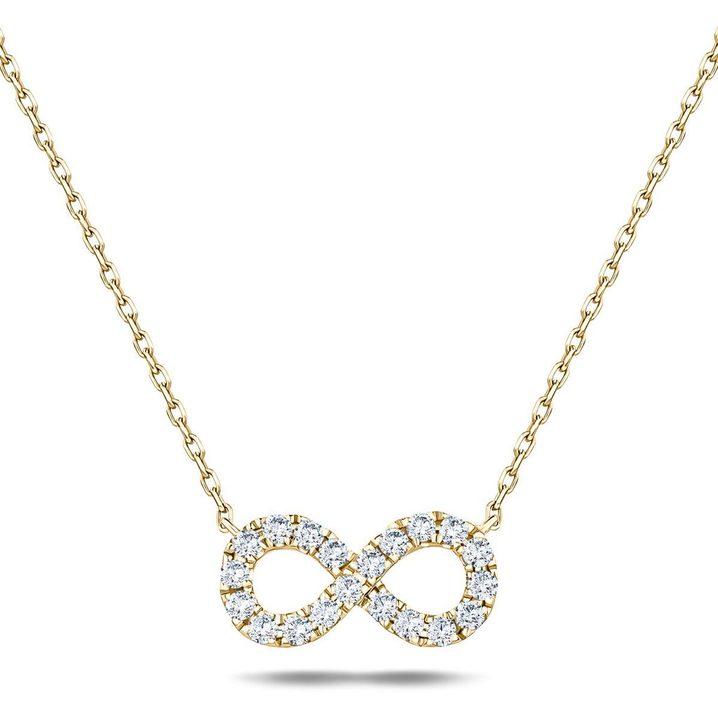 Diamond Infinity Necklace 0.50ct G/SI Quality in 18k Yellow Gold - All Diamond