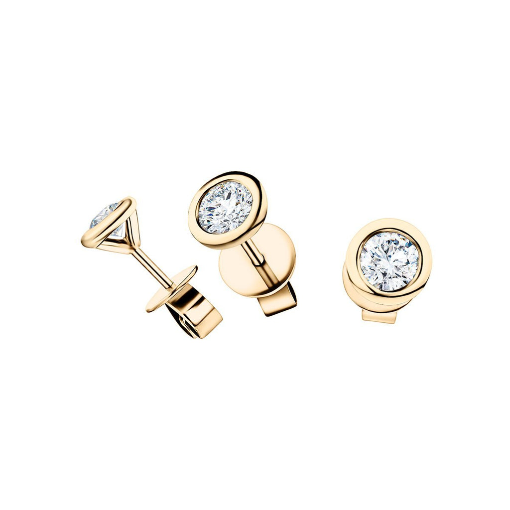Diamond Rub Over Earrings 0.30ct G/SI Quality in 18k Yellow Gold - All Diamond