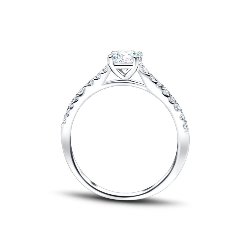 Diamond Shoulder Set Engagement Ring with 0.42ct G/SI 18k White Gold - All Diamond