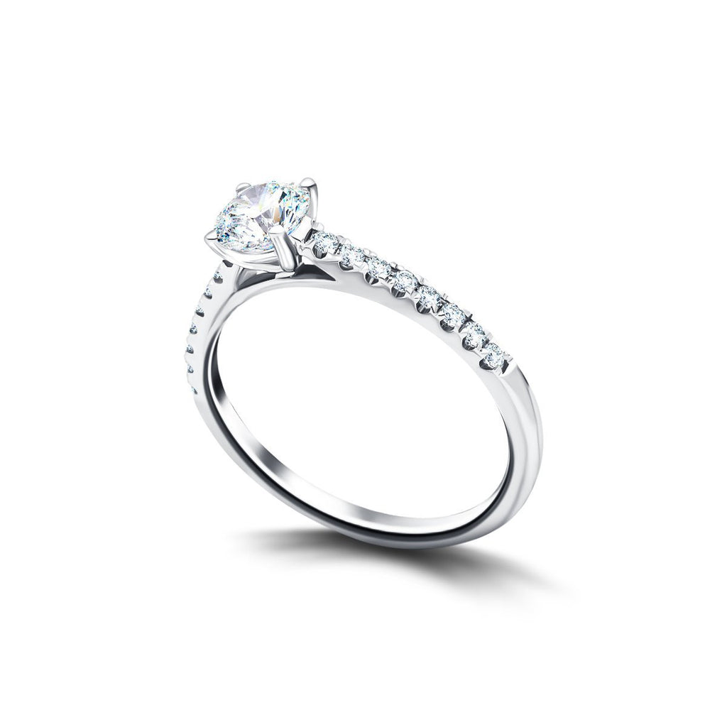 Diamond Shoulder Set Engagement Ring with 0.77ct G/SI in Platinum - All Diamond