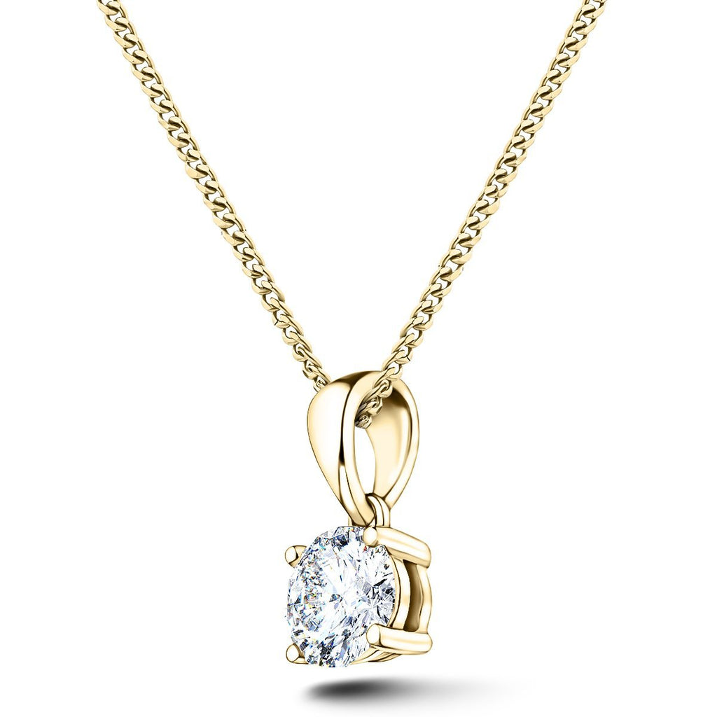 Diamond Solitaire Necklace 0.40ct G/SI in 18k Yellow Gold - All Diamond
