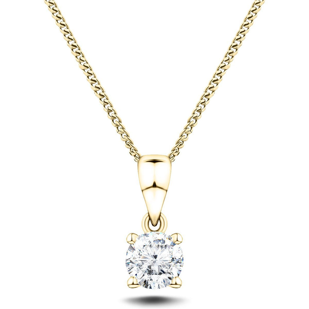 Diamond Solitaire Necklace 0.50ct G/SI in 18k Yellow Gold - All Diamond
