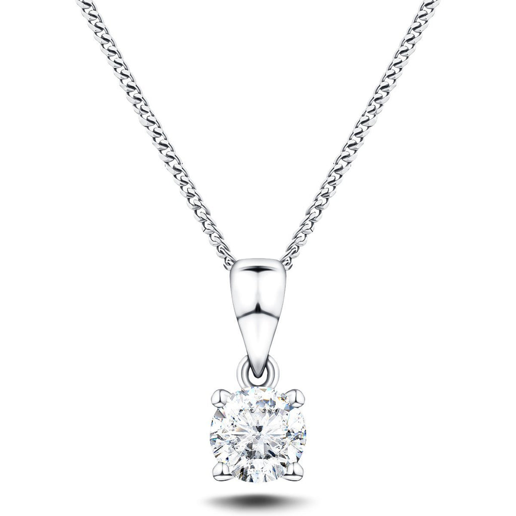 Diamond Solitaire Necklace 0.60ct G/SI in 18k White Gold - All Diamond