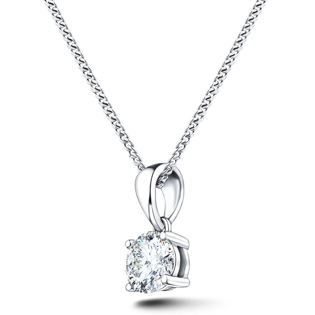 Diamond Solitaire Necklace 0.75ct G/SI in 18k White Gold - All Diamond