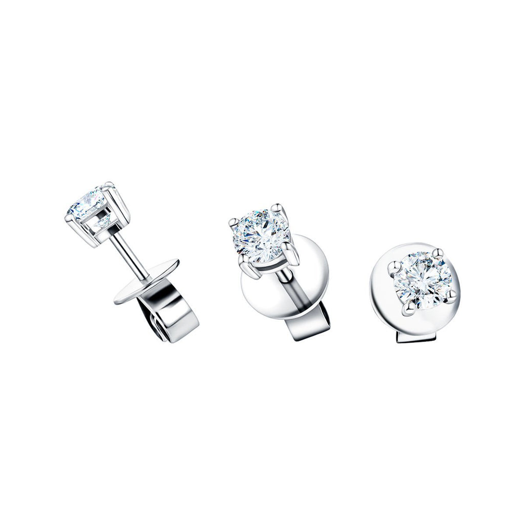 Diamond Stud Earrings 0.30ct G/SI Quality in 18k White Gold - All Diamond
