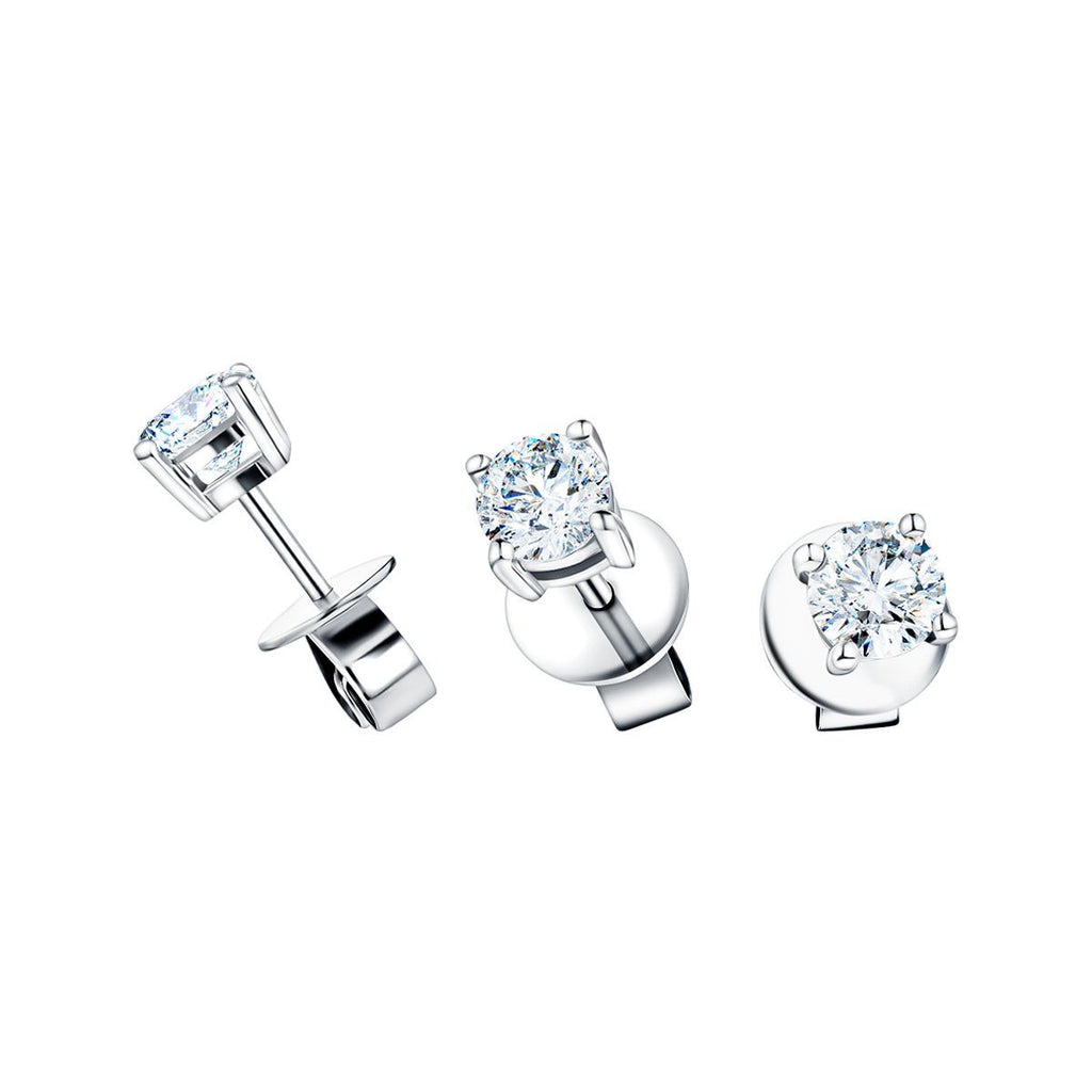 Diamond Stud Earrings 0.60ct G/SI Quality in 18k White Gold - All Diamond