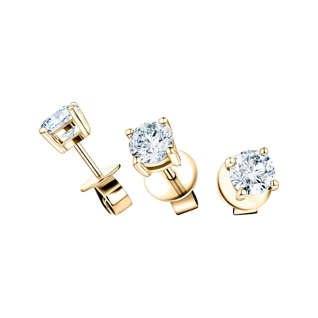 Diamond Stud Earrings 1.40ct Premium Quality in 18K Yellow Gold - All Diamond