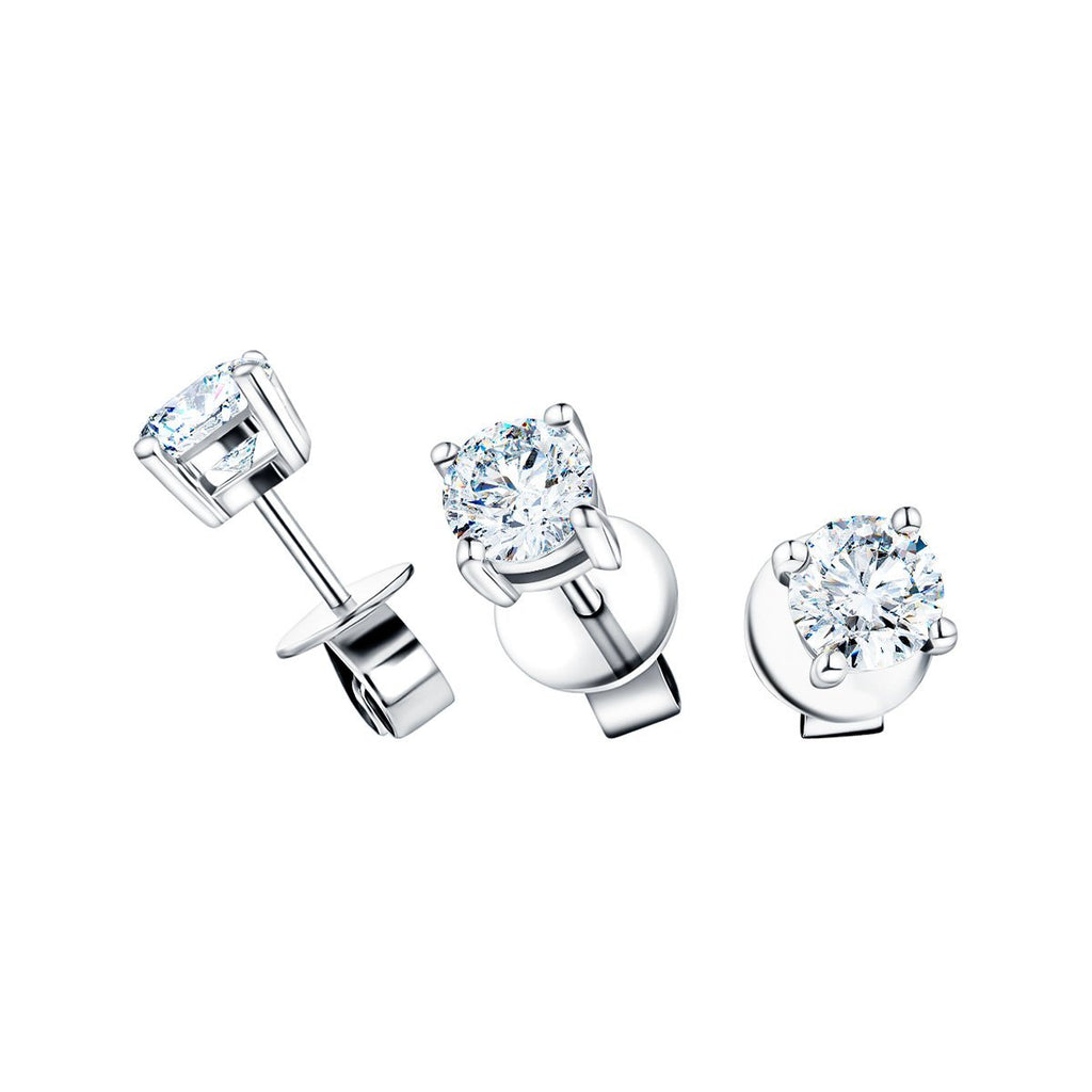 Diamond Stud Earrings 1.50ct G/SI Quality in 18k White Gold - All Diamond