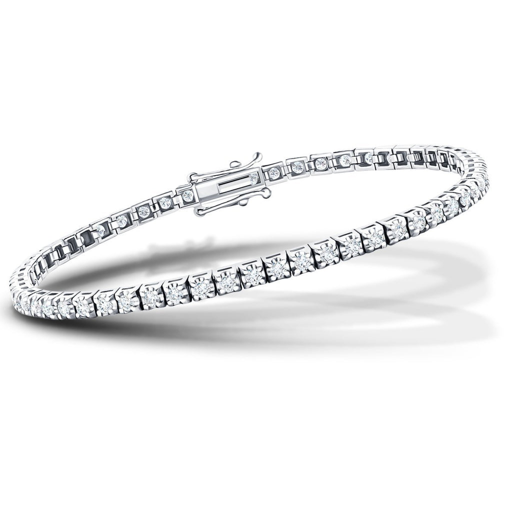 Diamond Tennis Bracelet 3.00ct G-SI in 9k White Gold - All Diamond