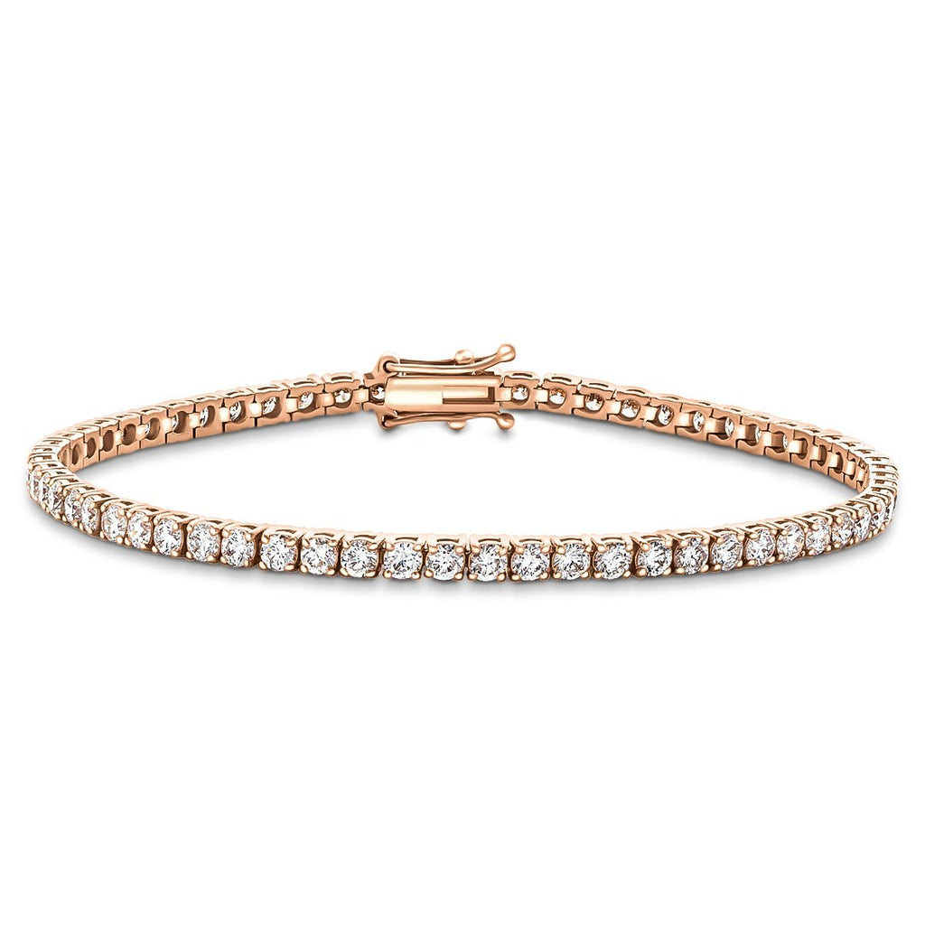 Diamond Tennis Bracelet 5.00ct G-SI in 18k Rose Gold - All Diamond