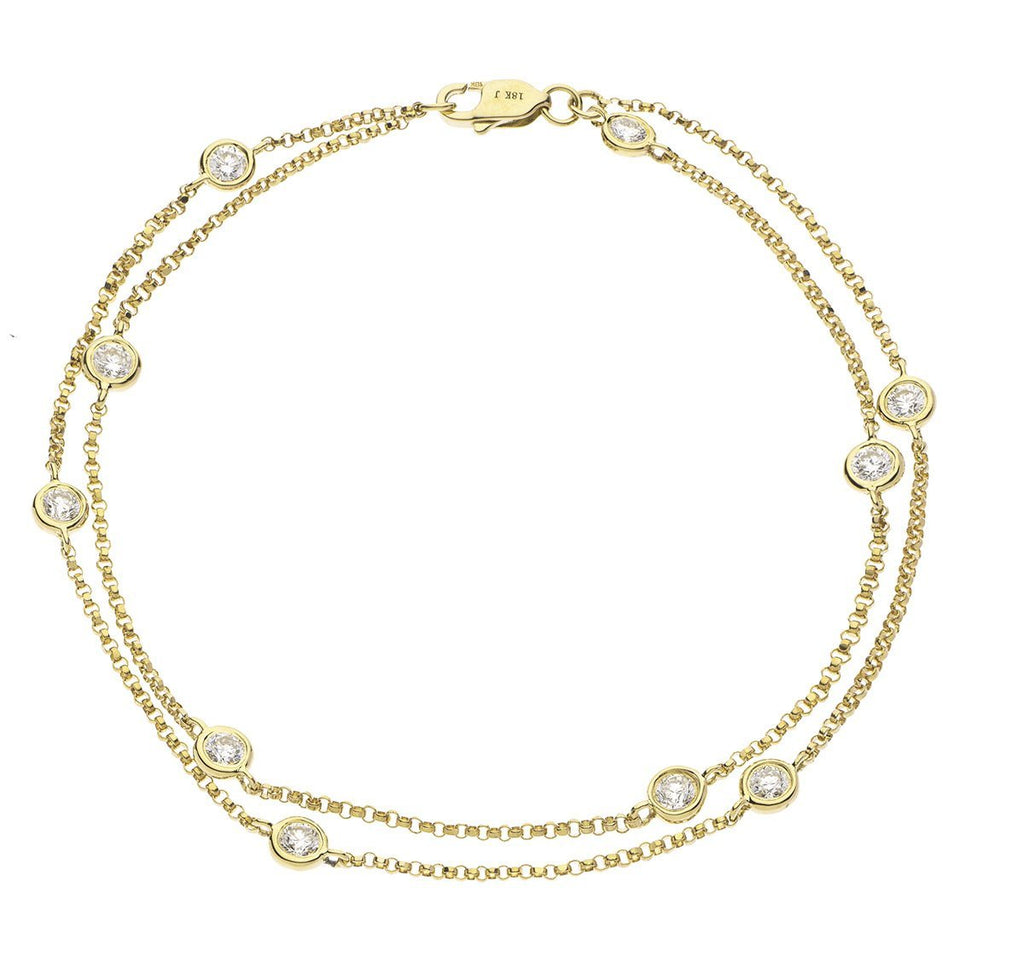 Diamonds By The Yard Double Chain Bracelet 0.85ct G-SI 18k Yellow Gold - All Diamond