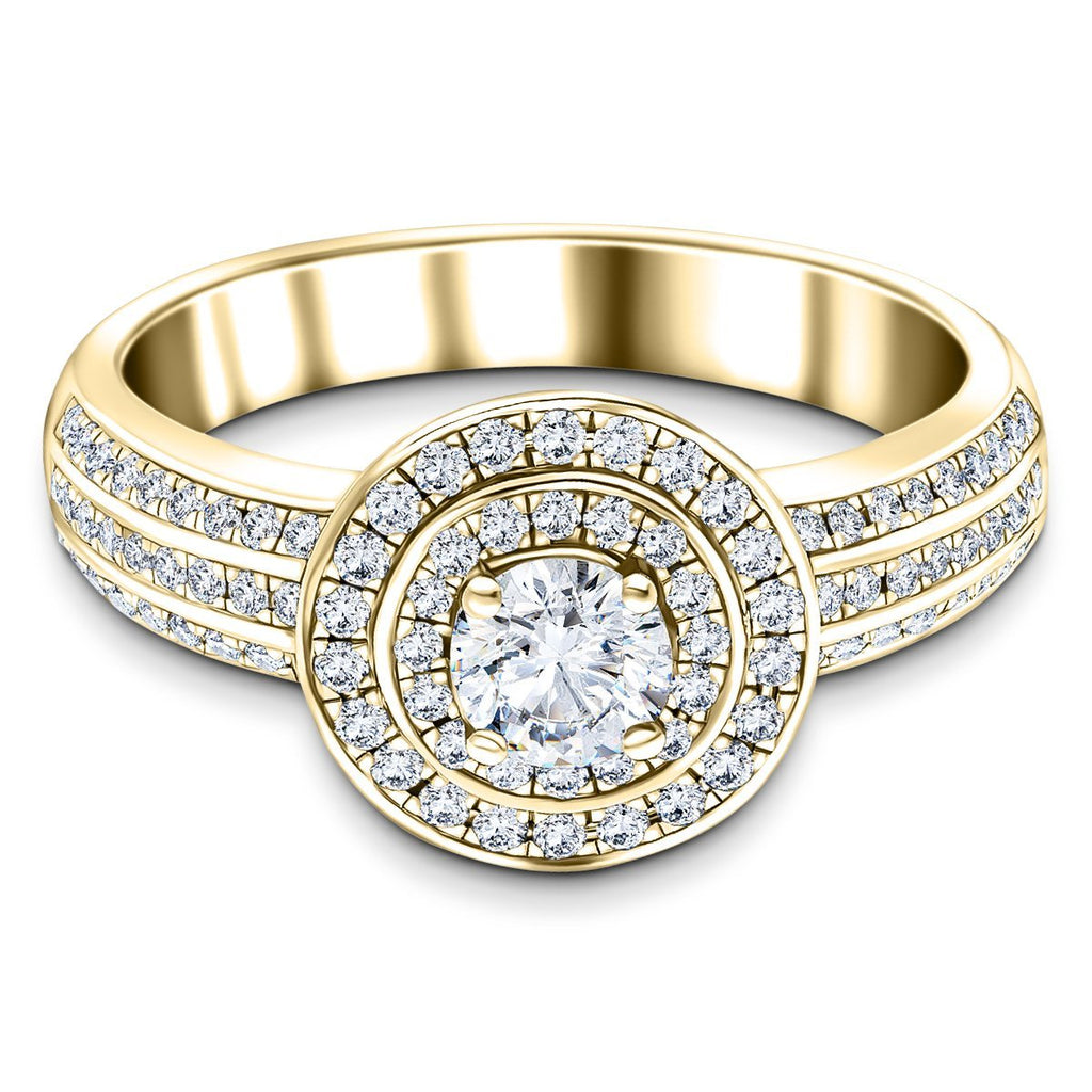 Exclusive Halo Diamond Engagement Ring 0.95ct G/SI 18k Yellow Gold - All Diamond
