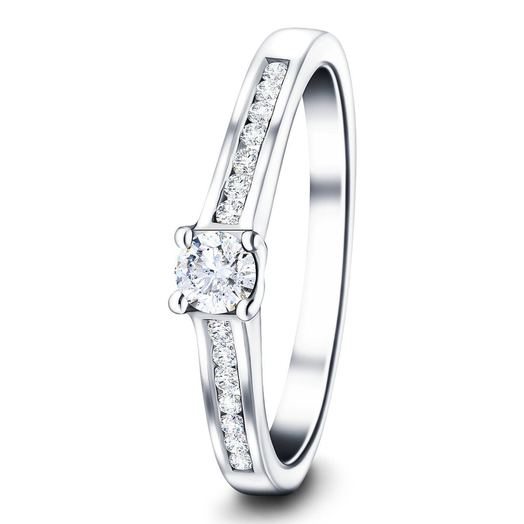 Exclusive Side Stone Engagement Ring 0.50ct G/SI 18k White Gold - All Diamond