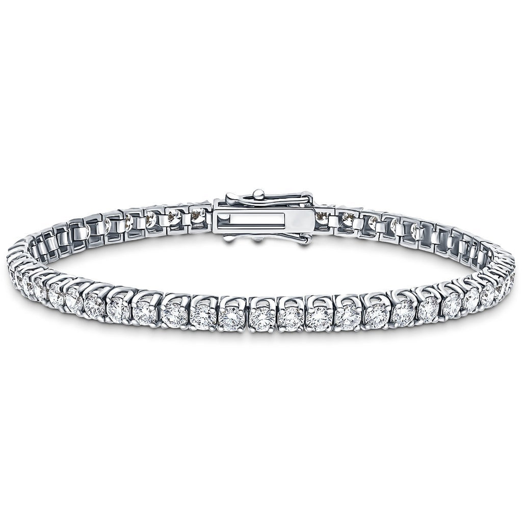 Fancy Diamond Tennis Bracelet 4.00ct G-SI in 18k White Gold - All Diamond
