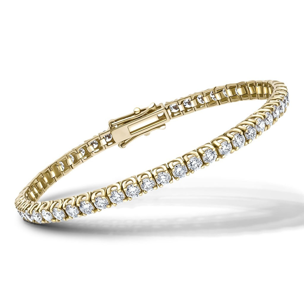 Fancy Diamond Tennis Bracelet 4.00ct G-SI in 18k Yellow Gold - All Diamond