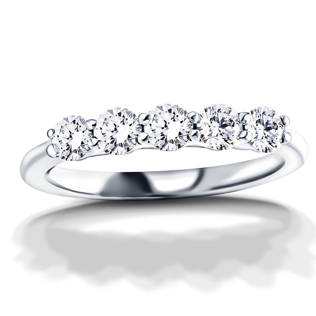 Five Stone Diamond Ring with 2.00ct G/SI Quality in 18k White Gold - All Diamond
