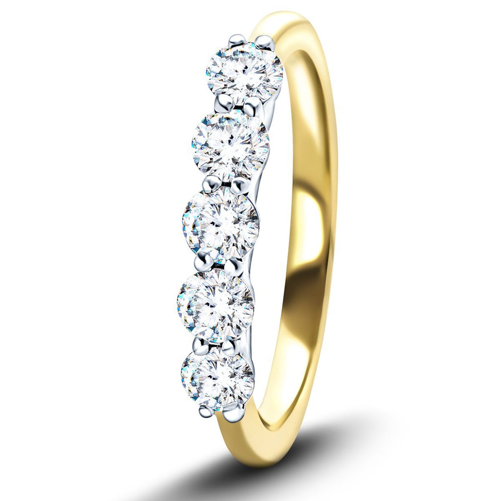 Five Stone Diamond Ring with 2.00ct G/SI Quality in 18k Yellow Gold - All Diamond