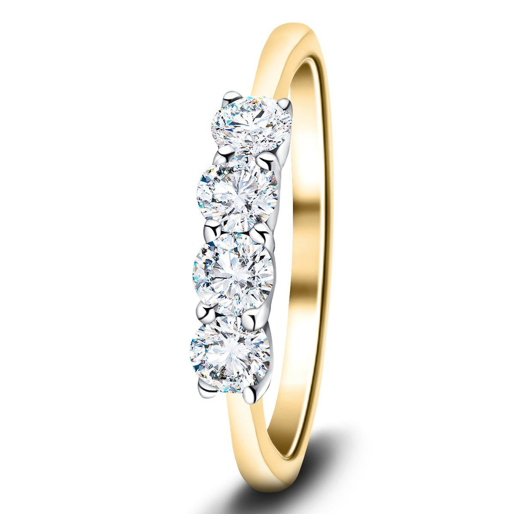 Four Stone Round Diamond Ring with 0.75ct G/SI in 18k Yellow Gold - All Diamond
