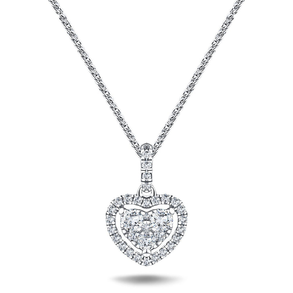 Halo Cluster Heart Necklace 0.70ct G/SI Diamond in 18K White Gold - All Diamond