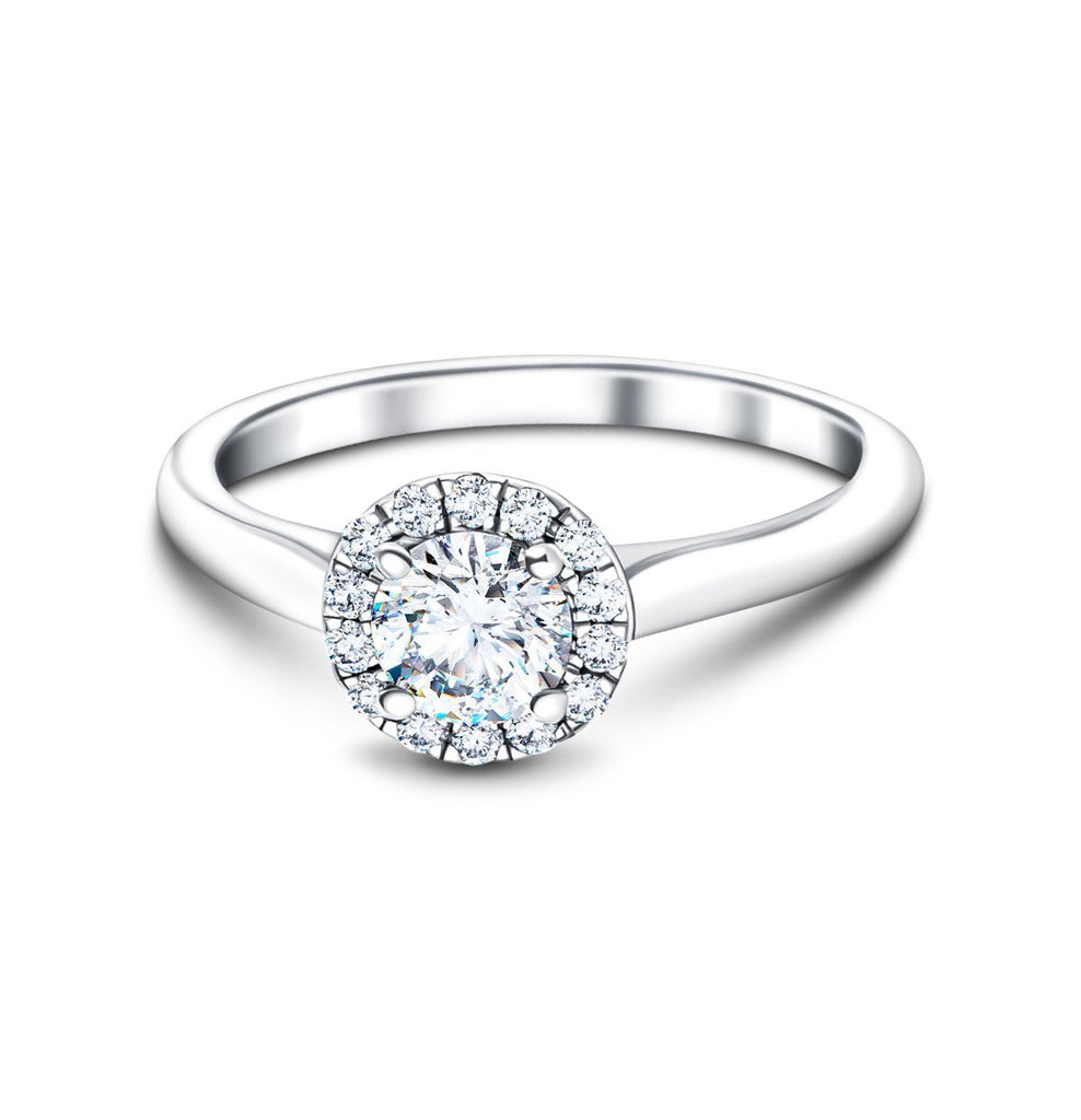 Halo Diamond Engagement Ring with 0.45ct G/SI in 18k White Gold - All Diamond