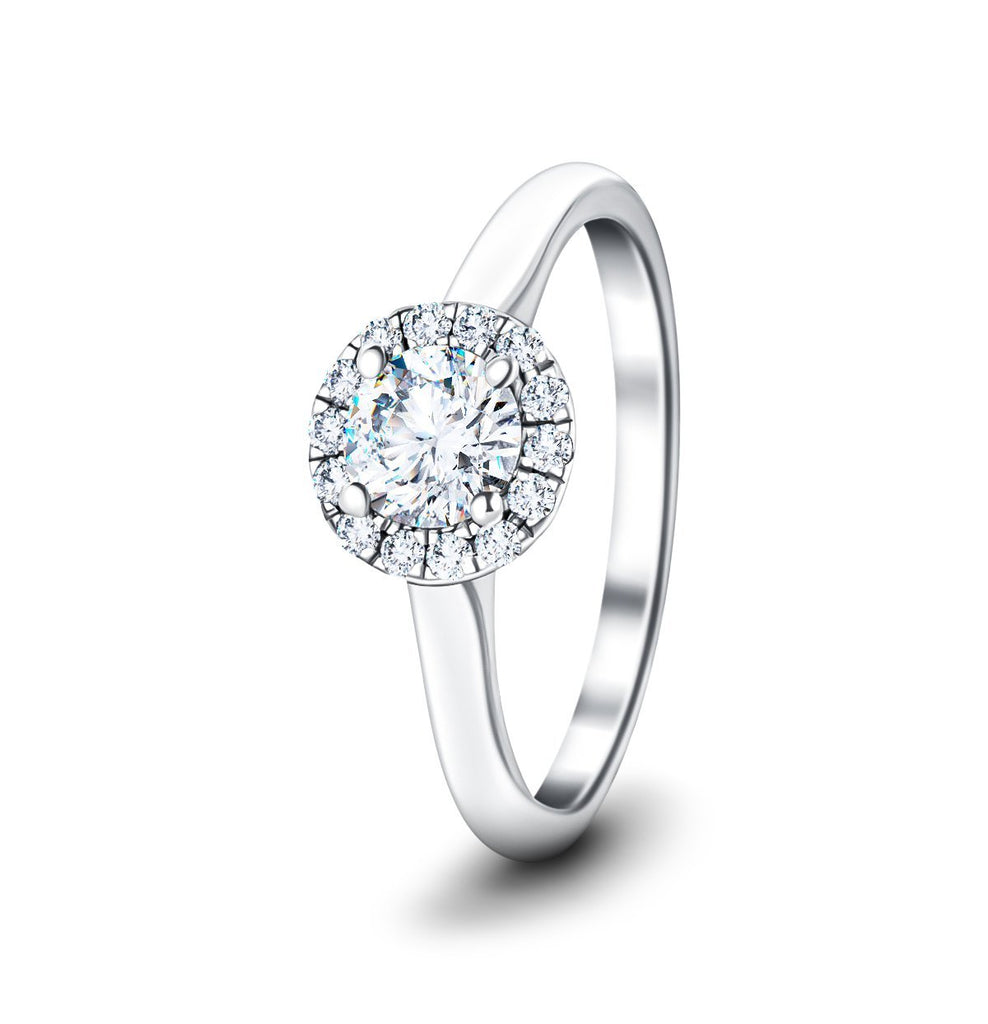 Halo Diamond Engagement Ring with 0.80ct G/SI in 18k White Gold - All Diamond