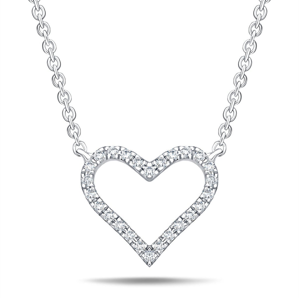 Heart Style Round 0.10ct Diamond Necklace 18K White Gold - All Diamond