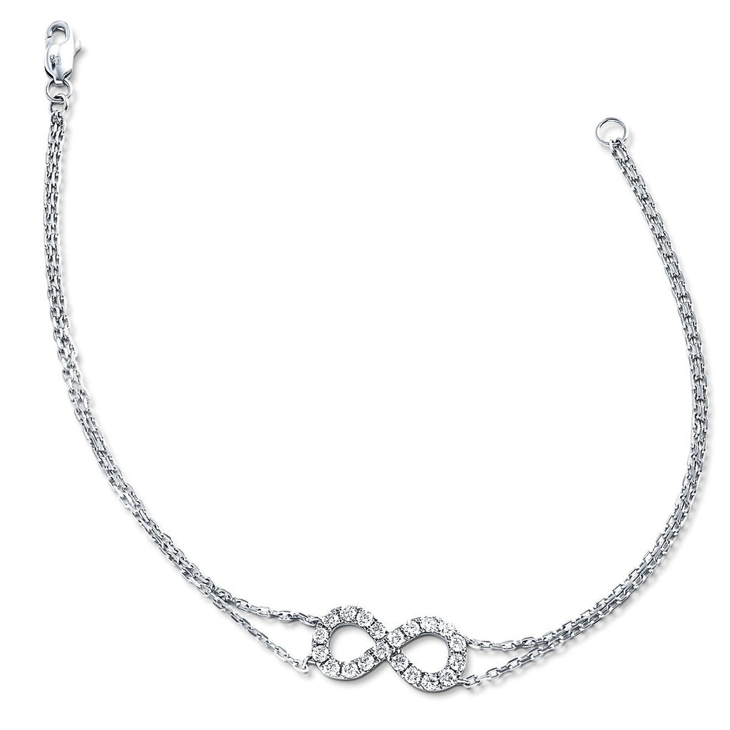 Infinity Diamond Bracelet 0.50ct G-SI Quality in 18k White Gold - All Diamond