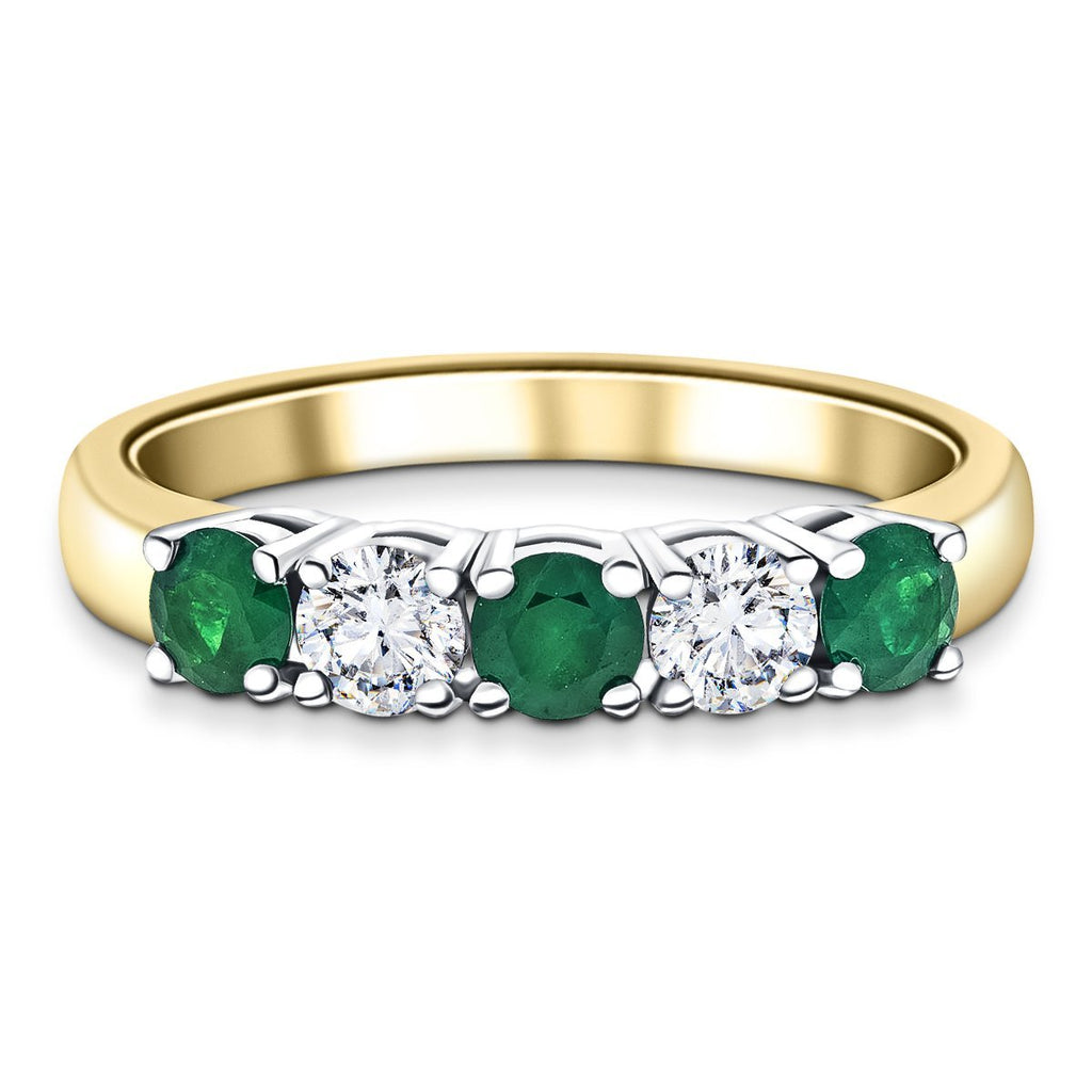 Modern 0.45ct Emerald 0.30ct Diamond Five Stone Ring 18k Yellow Gold - All Diamond