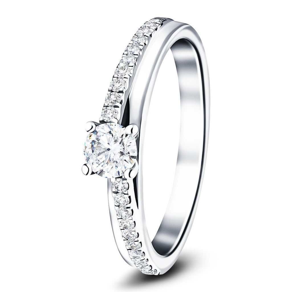 Modern Diamond Shoulder Set Engagement Ring 0.60ct G/SI 18k White Gold - All Diamond