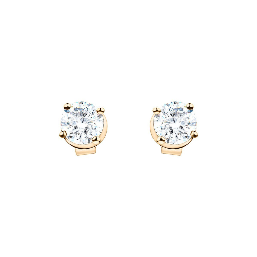 Modern Diamond Stud Earrings 1.00ct G/SI Quality in 18k Yellow Gold - All Diamond