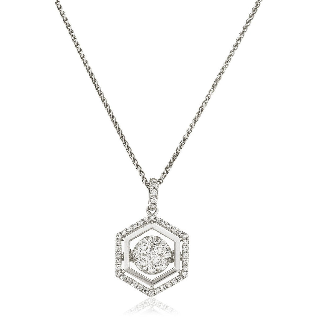 Moveable Diamond Cluster Necklace Pendant 0.50ct 18k Gold 13.0mm - All Diamond