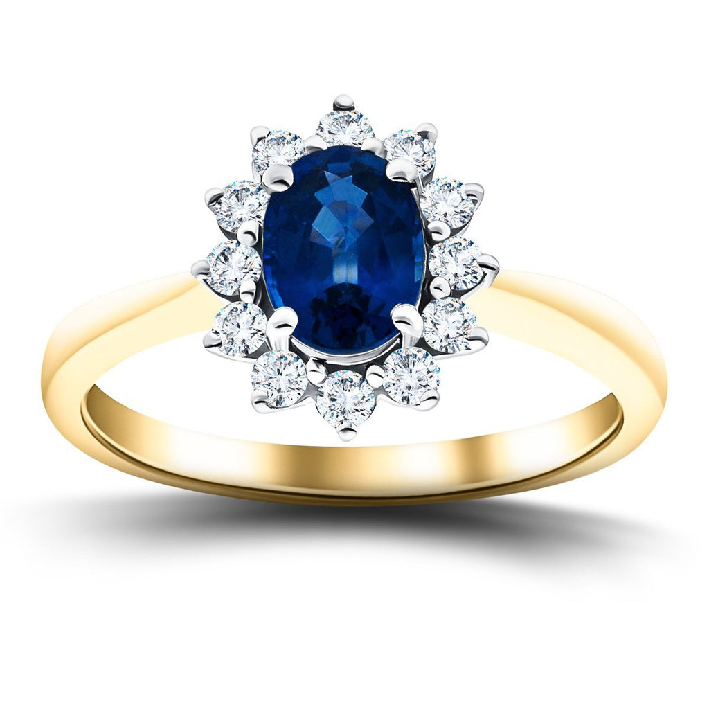 Oval 0.50ct Blue Sapphire 0.20ct Diamond Cluster Ring 18k Yellow Gold - All Diamond
